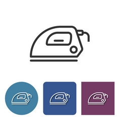 Electric iron line icon in different variants vector