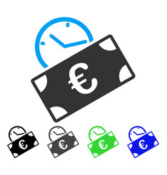 Euro recurring payment flat icon vector