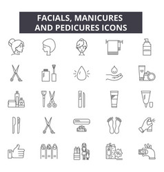 facials manicures and pedicures line icons for vector image