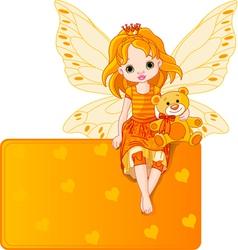 fairy with teddy bear vector image