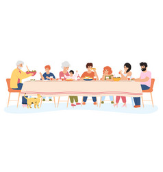 Family meal people dining together eating vector