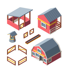 farm isometric buildings set warehouse storing vector image