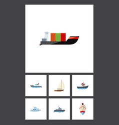 flat icon boat set of yacht delivery boat and vector image