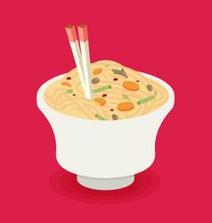 flat noodle ramen graphic vector image
