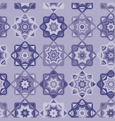 Folk art mosaic tile pattern purple vector