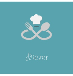 Fork spoon infinity sign chef hat mustache Menu vector image