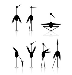 Funny storks collection for your design vector image