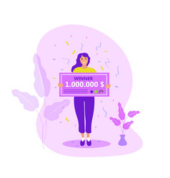 girl with a million dollar check raffle winner vector image