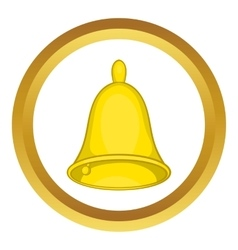 Golden hand bell icon vector