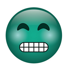 Grimacing face emoticon funny icon vector