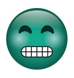 grimacing face emoticon funny icon vector image