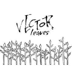 grunge leaves ink border seamless pattern vector image