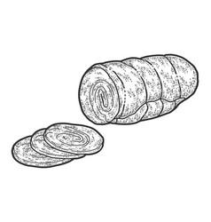 Half ham slice sketch scratch board imitation vector