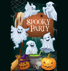 Halloween ghosts and pumpkins party invitation vector