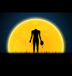Halloween headless zombie hold human head vector