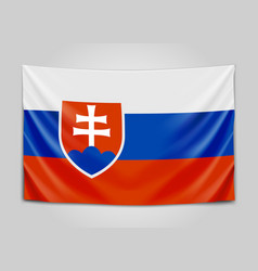 hanging flag of slovakia slovak republic vector image