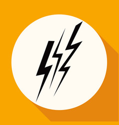 Icon lightning arrowon white circle with a long vector