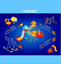 Isometric kids playground infographic template vector