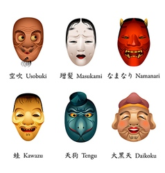 Japan festival masks VI vector image