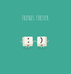 keyboard keys are friends forever graphics vector image