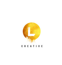 l gold letter logo design with round circular vector image