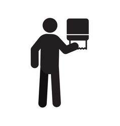 Man using paper towel dispenser silhouette icon vector