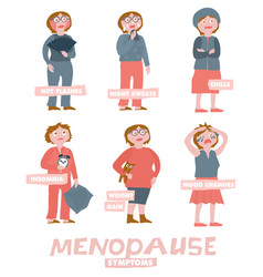 menopause symptoms set vector image