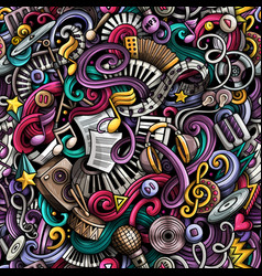 music hand drawn doodles seamless pattern musical vector image