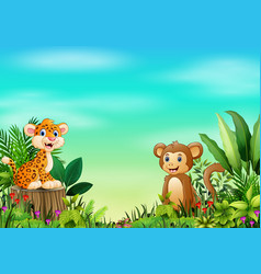 Nature scene with a baby leopard sitting on tree s vector