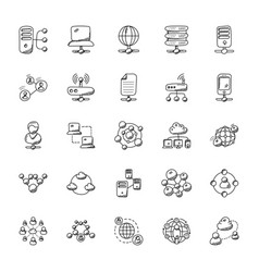 Networking doodle icons collection vector