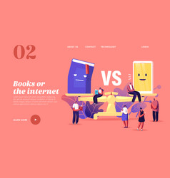 Paper book vs e-book landing page template tiny vector