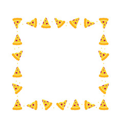 Pepperoni pizza slices square frame vector