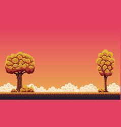 Pixel autumn background vector