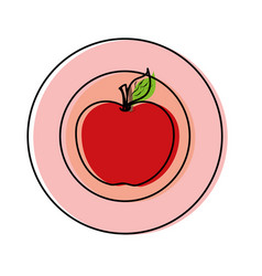 plate with apple vector image