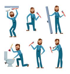 Plumber at work characters design set vector