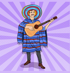 Pop art mariachi playing guitar mexican man vector