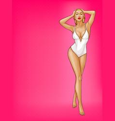 Pop art woman in one-piece swimsuit vector