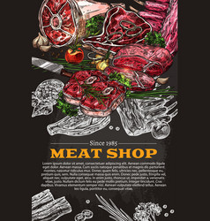 Poster of butchery shop meat product sketch vector