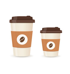 Realistic paper coffee cup set large and small vector