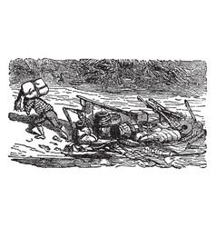 robinson crusoe landing the plunder vintage vector image