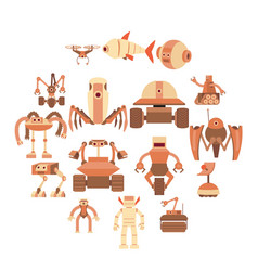 robot forms icons set cartoon style vector image