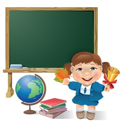 School board school girl and globe vector image