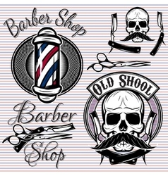 Set of emblems on a theme barber shop vector