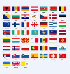 Set of flags of all countries of europe rectangle vector