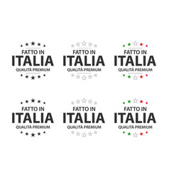 set of six italian icons made in italy vector image