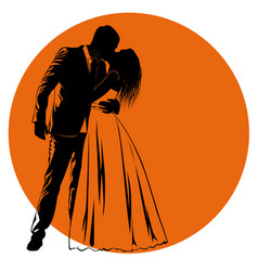Silhouettes of kissing bride and groom against an vector