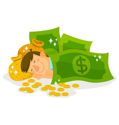 Sleeping in money vector