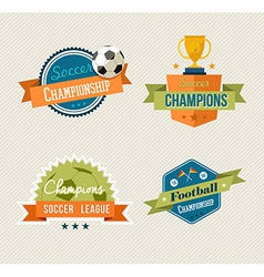 Soccer vintage labels set vector