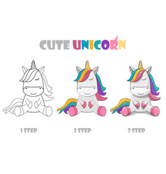 Step coloring or improvement a cute vector