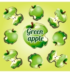 Stump apple green painted from different angles vector